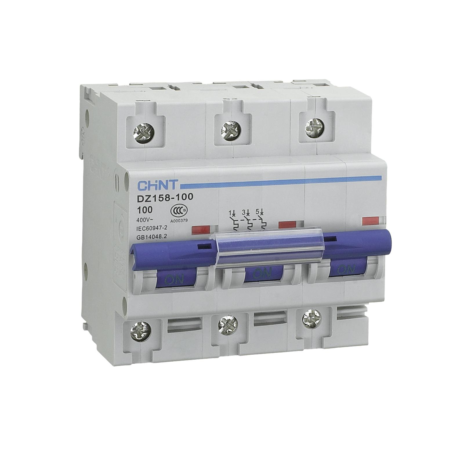 Chint DZ158-3-100 100 A, 3 polos, 10 kA Disyuntor de circuitos